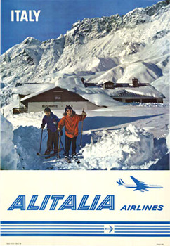 Title: Italy - ALITALIA AIRLINES (SKIING) , Date: 1962 , Size: 26.75 x 39 , Medium: Offset-Lithograph , Price: $950