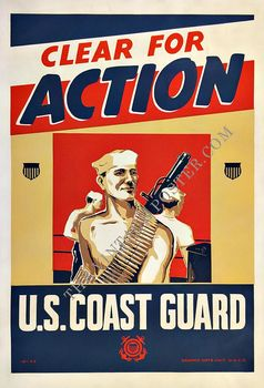 Title: CLEAR FOR ACTION U.S. COAST GUARD , Date: 1943 , Size: 28.25 X 42 , Medium: Lithograph , Price: $1,250
