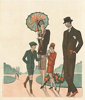 Title: Family Fashion poster in the Park , Date: 1920's , Size: 47 x 54.5