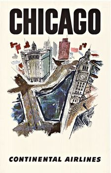 Title: CHICAGO Continental Airlines , Date: C. 1960'S , Size: 24