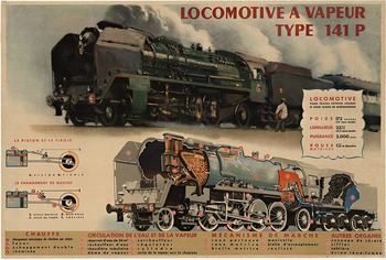 Title: LOCOMOTIVE A VAPEUR , Date: c. 1947 , Size: 47.25 x 32 , Medium: Lithograph , Price: $775