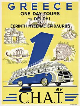 Title: GREECE ONE DAY TOURS TO DELPHI , Date: c. 1949 - 1955 , Size: 24