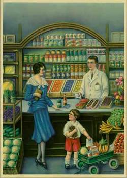 Title: Groceries and Fruits , Date: circa 1930's , Size: 12