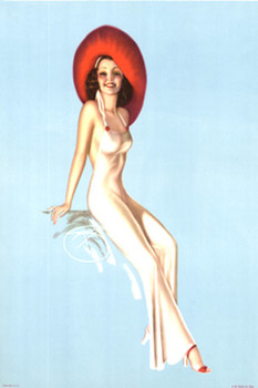 Title: Pin Up Girl with Red Hat , Date: c. 1940's , Size: 15.25