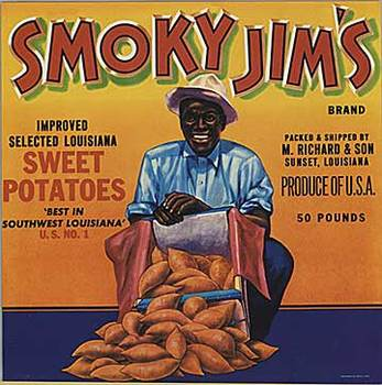 Title: Smoky Jim's Sweet Potatoes , Size: 9.25 x 9.25 , Medium: Offset-Lithograph , Price: $20