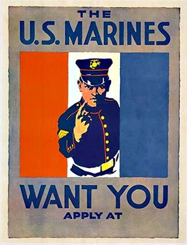 Title: The Marines Want You , Date: c. 1917 , Size: 22 x 28 inches (half sheet) , Medium: Lithograph , Price: $1,450