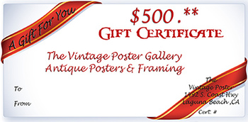 Title: GIFT CERTIFICATE $500 , Date: 1965 , Size: 5.5 X 8 , Medium: Serigraph , Price: $500