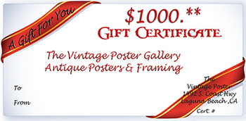 Title: GIFT CERTIFICATE $1000 , Date: 1965 , Size: 5.5 X 8 , Medium: Serigraph , Price: $1,000