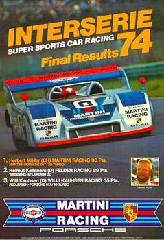 Title: Interserie Super Sports car racing 74 Final Results , Date: 1974 , Size: 30 x 40 , Medium: Offset-Lithograph , Price: $550